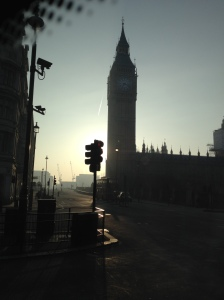"A hazy ""Good morning"" from Big Ben"