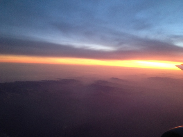 The big advantage of 6 am WizzAir flights - misty sunrise over the Carpathians